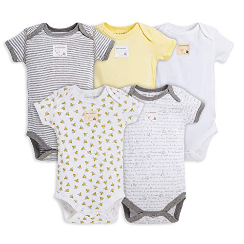 Burt's Bees Baby Set of 5 Short Sleeve Bodysuits, Bee Essentials 100% Organic Cotton ()
