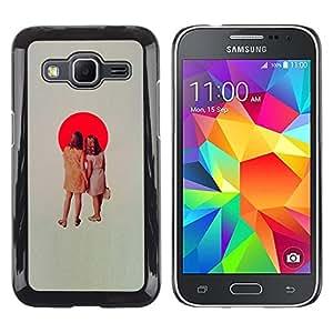 LECELL--Funda protectora / Cubierta / Piel For Samsung Galaxy Core Prime SM-G360 -- Japanese Sun Flag Red Spot Retro Girls --