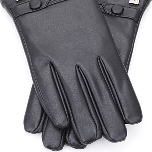 Gallery Seven Mens Faux Leather Warm Winter Gloves - Touch Screen Texting Glove - Gift Wrapped - Black Fine Button Style - Small by Gallery Seven (Image #5)