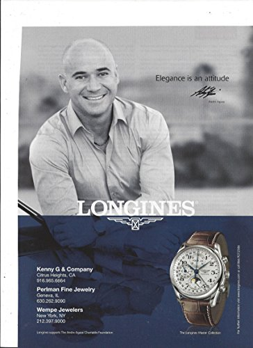 PRINT AD With Andre Agassi For 2008 Longines Brown Leather Band Master Collec...