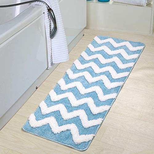 Uphome Shaggy Chevron Bath Mat, Non-Slip Microfiber Light Blue Striped Bathroom Rug Soft Decorative Doormat Kitchen Mat, 17