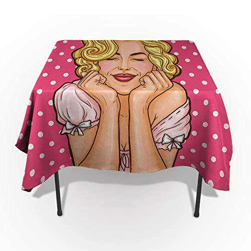 54 x 79 Inch Rectangle Tablecloth - Cartoon Marilyn Monroe Pink Polka Dots Rectangular Polyester Table Cloth Table Covers Linen Decor - Great for Kitchen Table, Parties, Holiday Dinner, Wedding & More -