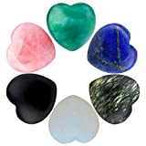 SUNYIK Assorted Stones Carved Puff Heart Pocket Stone,Healing Palm Crystal Pack of 6(0.8'')