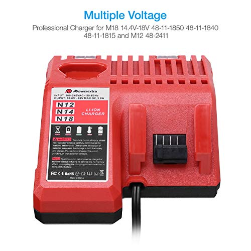 Powerextra M12 & M18 Rapid Replacement Charger for Milwaukee 48-59-1812 N12 or N18 N14 Lithium Battery 48-11-2420 48-11-2440 48-11-1820 48-11-1840 48-11-1850 48-11-2401 48-11-1890