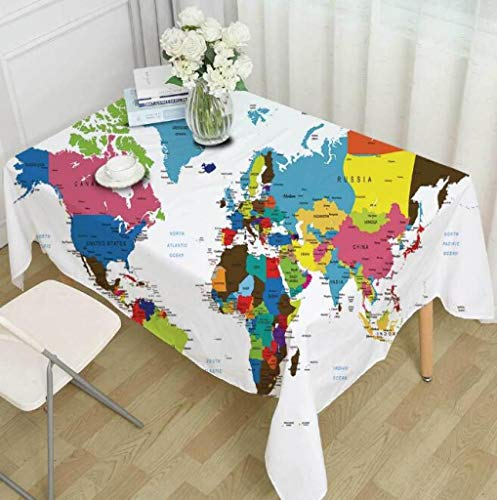 RXIN World Map Printed Tablecloth Polyester Dust Proof Table Cloth for Picnic Party Home Dinner Table ()