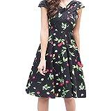 VIASA_ Women Wrap Dress, Print Cross Neck Skirt Party Swing Plus Size Prom Fashion Dress (Green, XL)
