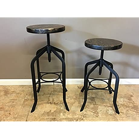 Reclaimed Wood Counter Bar Height Stool With Swivel Seat Industrial Urban Bar Stool
