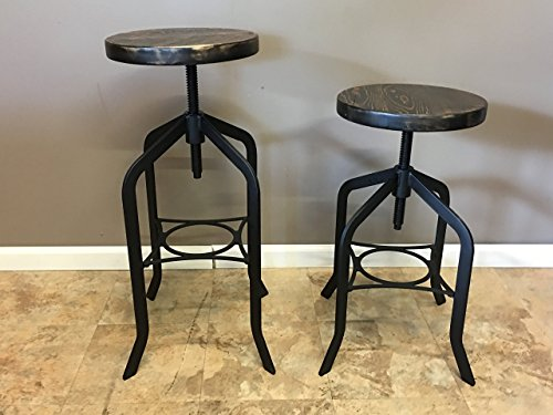 Reclaimed Wood Counter/Bar Height Stool with Swivel Seat | Industrial Urban Bar Stool