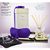 LOVSPA Mother's Day Relaxation GIFT SET CALM Spanish Lavender Essential Oil Reed Diffuser & Purple Contoured Sleep Mask Set | Includes 2 Sets of Reed Sticks! BEAUTIFULLY GIFT WRAPPED! A Gift for Moms