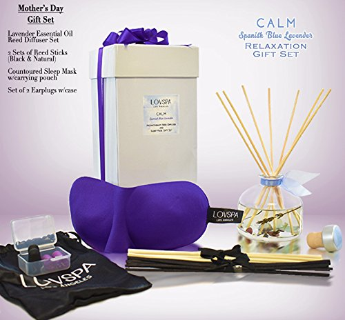 LOVSPA Mother's Day Relaxation GIFT SET CALM Spanish Lavender Essential Oil Reed Diffuser & Purple Contoured Sleep Mask Set | Includes 2 Sets of Reed Sticks! BEAUTIFULLY GIFT WRAPPED! A Gift for Moms ()