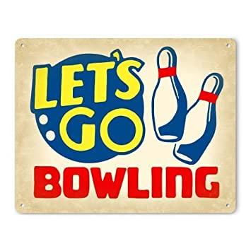 amazon co jp retro bowling decor sign let s go bowling by new