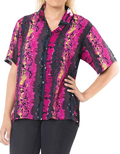 (LA LEELA Likre Button Down Casual Cruise Day Shirt Pink|XL - US 40-42E)