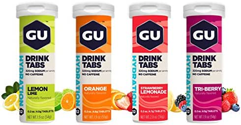 GU Energy Hydration Electrolyte Drink Tablets, Assorted Flavors, 4-Count