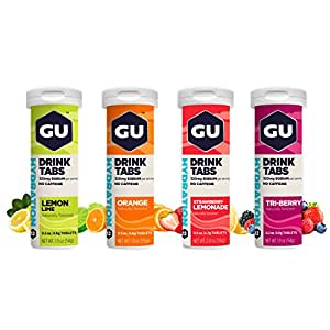 GU Energy Hydration Electrolyte Drink Tablets, Assorted Flavors, 4 Tubes of 12 Tablets