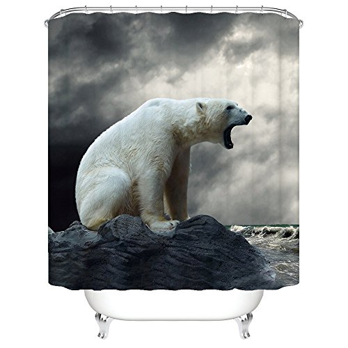 Wild Animals Polyester Shower Curtain - CHARMHOME Wild Animals Roaring Polar Bear Bath Home Decor of Waterproof Bathroom Polyester Fabric Shower Curtain 60