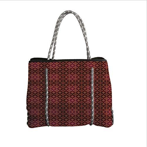 Neoprene Multipurpose Beach Bag Tote Bags,Damask,Abstract Floral Pattern with Medieval Design Ornamental Victorian Image,Orange Magenta Black,Women Casual Handbag Tote Bags]()
