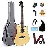 AKLOT Acoustic Guitar Full Size 41'' Spruce Cutaway Guitar Bundle for Adult Students Beginners W/Gig Bag Tuner Strap Picks Strings Pickguard Guitar Capo String winder