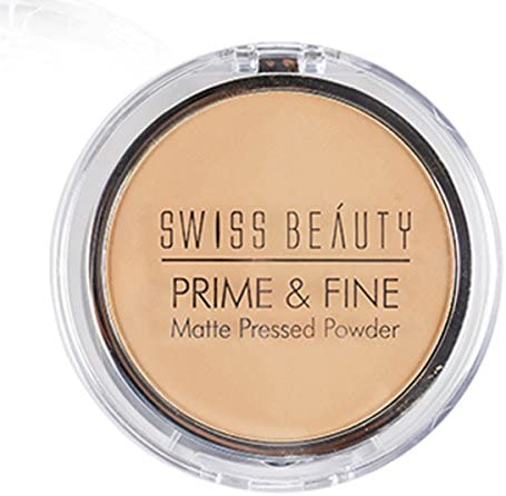 SWISS BEAUTY Prime & Fine Matte Pressed Powder, Natural-Beige, 10 g