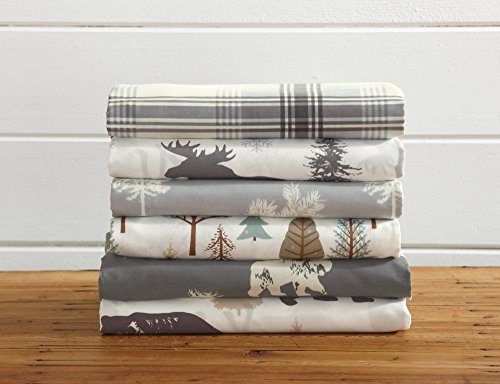 Great Bay Home 4-Piece Lodge Printed Ultra-Soft Microfiber Sheet Set. Beautiful Patterns Drawn from Nature, Comfortable… - LODGE PRINTED PATTERNS: Choose from a variety of beautiful, fade-resistant patterns drawn from the life of the American forest.. Each set comes with 1 fitted sheet, 1 flat sheet and 2 pillowcases (1 for Twin size). HOTEL/SPA QUALITY: These affordable microfiber sheets feel silky smooth against your skin. They're made from 90 GSM material that keeps you cool in the summer and toasty warm in winter. This 100% polyester fabric is WARM, SOFT, FLEXIBLE, and BREATHABLE for maximum sleep comfort. PERFECT FIT EVERY TIME: These DEEP POCKET sheets fit mattresses up to 17 inches deep, with a fully elasticized fitted sheet. They're available in Twin, Full, Queen and King sizes to fit any bed. See below for exact measurements. - sheet-sets, bedroom-sheets-comforters, bedroom - 51AB3CH1ilL -