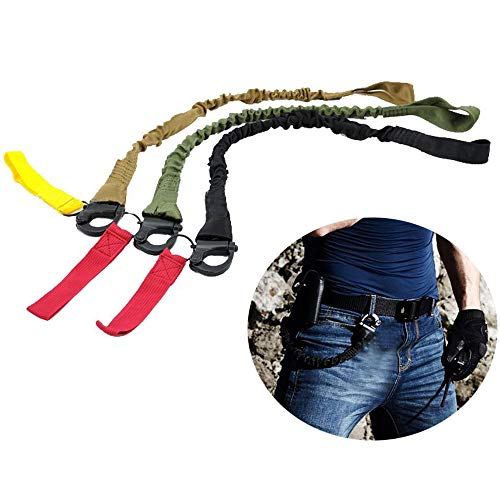 - Quick Release Safety Lanyards,1 Pack 1.8ft Retractable Retention Strap Tactical Military Quick Release Wasit Bag Sling Safety Lanyard Sling Nylon Rope Bungee Strap Hunting Accessories Random Color
