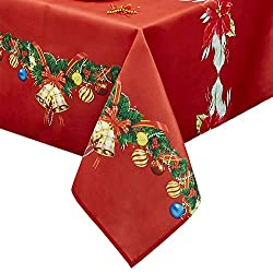 Rectangle Christmas Table Cloth, Oil-Proof Spill-Proof and Water Resistance Tablecloth, Decorative Fabric Table Cover for Outdoor and Indoor Use (60 x 84 inch, Flower)