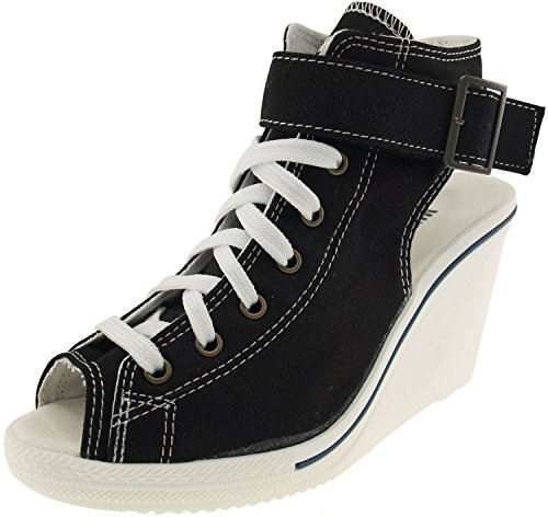 Maxstar Women's 775 Open Toe Ankle Strap Canvas Wedge Heel Sandals Black 8 B(M) US