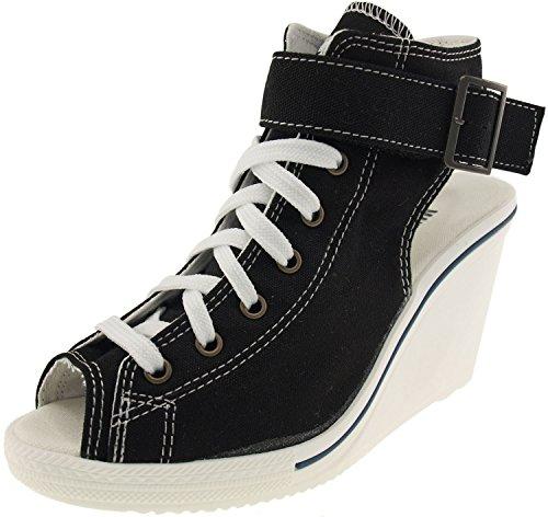 Maxstar Women's 775 Open Toe Ankle Strap Canvas Wedge Heel Sandals Black 7 B(M) US