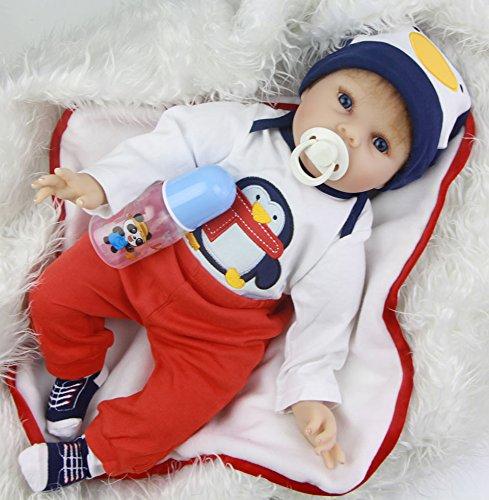KEIUMI Reborn Reborn Reborn Baby Doll 22 Zoll Realistischer Junge Simulation Spielzeug Lebensechte Neugeborenen Babys Puppen Magnetic Schnuller Weihnachtsgeschenk c75455