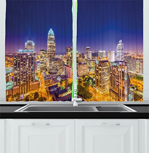 North Carolina Printed Curtain - Ambesonne Modern Kitchen Curtains, Panoramic North Carolina Uptown Sky at Night Cityscape Colorful Town Picture, Window Drapes 2 Panel Set for Kitchen Cafe, 55 W X 39 L Inches, Indigo Orange