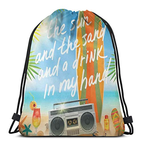 Drawstring Backpack Bags Sport Gym Cinch Bag Travel for Women Men Children,Retro Design Tropical Beach With Surfboard Palm Leaves Flip Flops And Sunglasses