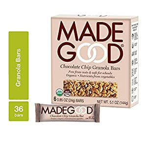MadeGood Chocolate Chip Granola Bars, 6 Pack (36 bars); Gluten Free Oats and Delicious Chocolate Chips; Contains Nutrients of One Serving of Vegetables; Allergy-Friendly, Full of Chewy, Tasty Goodness