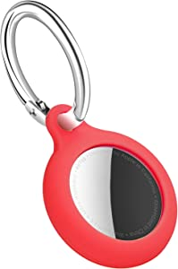Apple AirTag Case Airtags Holder Silicone Protective Sleeve Cover for AirTags Keychain Key Ring AirTag Accessories Skin Red