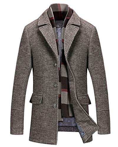 Tweed Peacoat - Chartou Men's Classic Mid-Length Quilted Wool Car Coat with Detachable Scarf (Khaki, XX-Large)