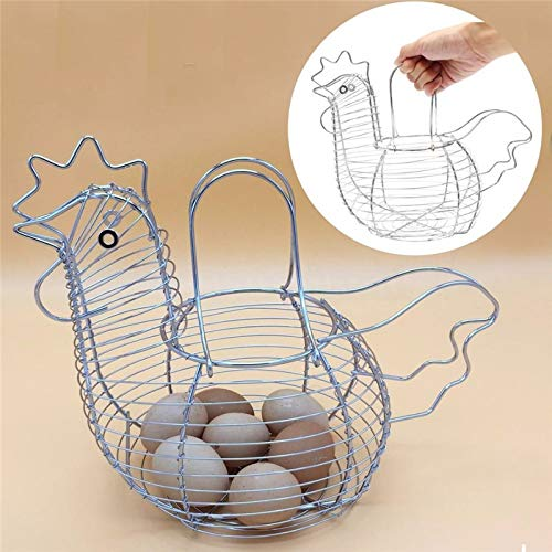 25cm plata Cesta de almacenamiento para huevos HotEU Home Kitchen con forma de gallina cromada 30