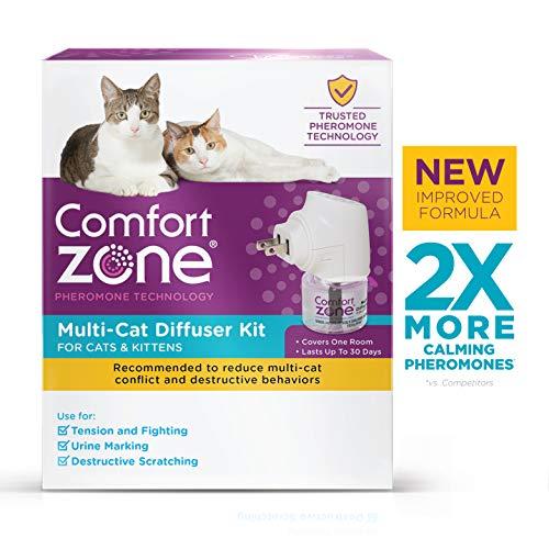 Comfort Zone 2X More Pheromones Formula Calming Diffuser Kit for Cat Calming | Multi Cat and Calming Formulas | Single Diffuser Kit, 1 Diffuser, 1 Refill