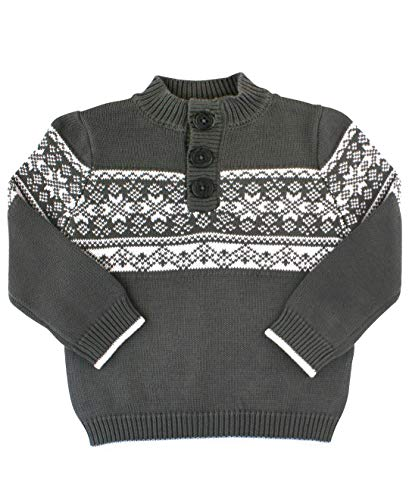 (RuggedButts Baby/Toddler Boys Charcoal Fair Isle Pullover Sweater - 18-24m)
