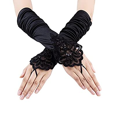 Xuhan 1920s Long Flapper Fingerless Evening Opera Satin Gloves for Women
