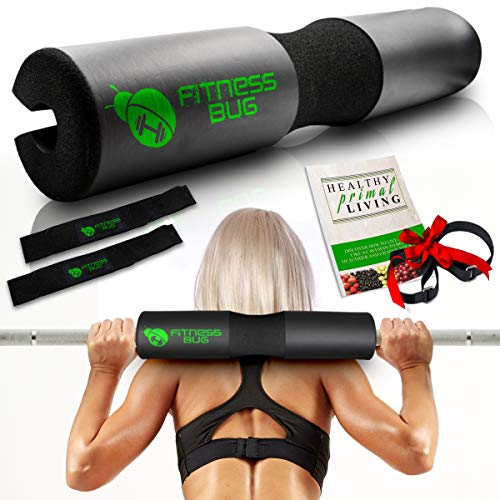 """Fitness Bug Barbell Pad for Women & Men – Hip Thrust & Weightlifting Bar Squat Pad + BONUS Securing Straps to Protect Neck, Spine, & Pelvis – 18"""" x 4"""" Squat Sponge for Standard and Olympic Barbells"""