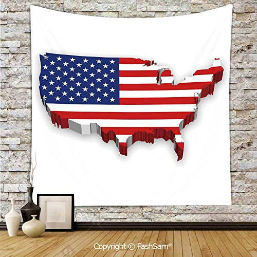 Hanging Tapestries America Continent Figure with National Flag Symbol Glory Country Design Decorative Wall Blanket for Living Room Dorm Decor(W59xL78)
