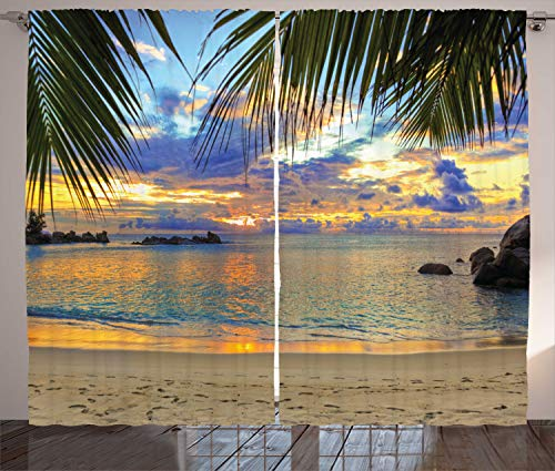 Ambesonne Tropical Curtains, Exotic Beach Sundown Hawaii Palm Trees Foliage Idyllic Summer Nature Photography, Living Room Bedroom Window Drapes 2 Panel Set, 108