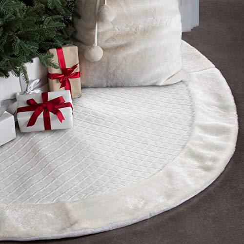 EDLDECCO Christmas Tree Skirt 48 Inches White Rhombus Texture with Faux Fur Border Double Layers Handicraft Xmas Decoration Holiday Ornaments