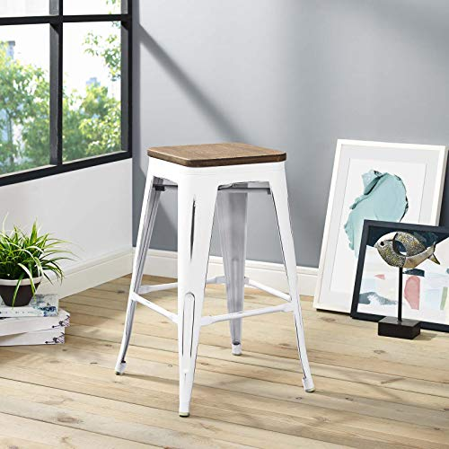 Modway Promenade Modern Aluminum Backless Counter Bar Stool in White With Bamboo - Stools Counter Bamboo