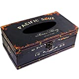 (Black Pacific Soul) Retro Vintage Rustic Wood Tissue Holder Box Cover Facial Tissue Paper Dispenser Anchor Design Tissue Holder Home Decor