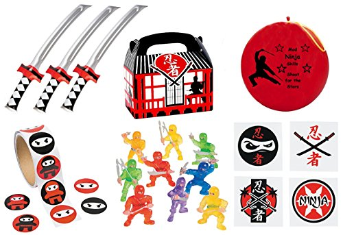 220 pc Ninja Warrior Kid's Birthday Party Favor Bundle Pack (100 pc Stickers, 12 Treat Boxes, 12 Inflatable Swords, 24 mini figures toys, 72 tattoos, Punch Ball)