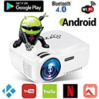 Android WiFi Bluetooth Projector (Warranty Included), ERISAN Multimedia Mini Pro Portable LED Projector For Home Theater Movie Video Games App (White)