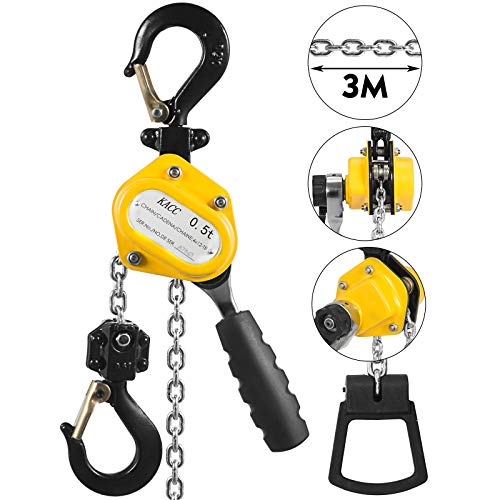 Mophorn 1/2 Ton Lever Block Chain Hoist 3M 10Ft Chain Hoist Alloy Steel G80 Chain Ratchet Lever Hoist with Hook (1/2 Ton 10 - Hoist 10 Chain Hand