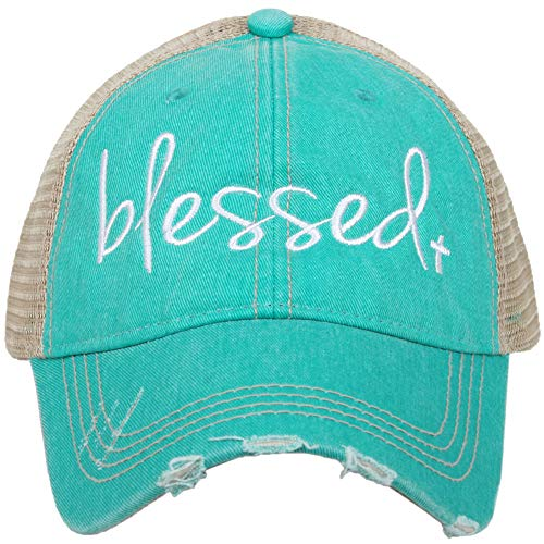 Katydid Womens Blessed Embroidered Trucker Hat, Teal