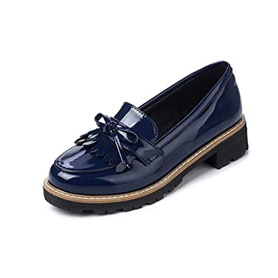 KARKEIN Women's Patent Leather Slip On Shoes Tassel Low Heel Penny Loafers Bowknot Oxford Shoes   Oxfords