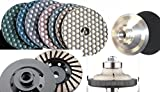 Ogee Bullnose 3/4'' Diamond Brazed Router Bit Profiler 4'' DRY Polishing Pad 11 Pieces (buff included) & Diamond Turbo Grinding cup wheel Granite Terrazzo Travertine