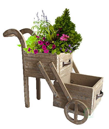 Gardenised Double Tier Wood Planter Cart -